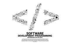 Vectorsoftware-ontwikkeling programmeringsmarkering met functioneel nutspictogram royalty-vrije illustratie