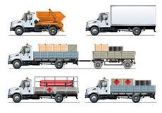 Vectorspecificatievrachtwagens geplaatst die malplaatje op wit wordt geïsoleerd Royalty-vrije Stock Afbeeldingen