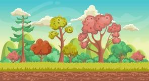 Vectorspelachtergrond De richtlijn van het landschap Panorama met bos Stock Afbeeldingen