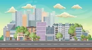 Vectorspelachtergrond De richtlijn van het landschap Panorama met stad Royalty-vrije Stock Fotografie