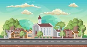 Vectorspelachtergrond Kleurrijke landschapsrichtlijn Panorama met stad Royalty-vrije Stock Afbeelding