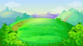 Vectorspelachtergrond met de zomerweide, heuvels en struiken vector illustratie