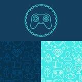 Vectorspelkenteken en naadloze patronen Stock Afbeelding
