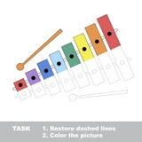 Vectorspoorspel Te kleuren xylofoon stock illustratie