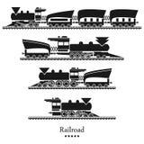 Vectorspoorweg als achtergrond, geplaatste treinen Royalty-vrije Stock Afbeeldingen