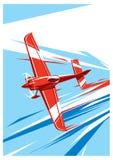 Vectorsportvliegtuig in vlieg vector illustratie