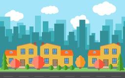 Vectorstad met beeldverhaalhuizen en gebouwen Stadsruimte met weg op vlak stijlconcept als achtergrond stock illustratie