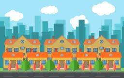 Vectorstad met beeldverhaalhuizen en gebouwen Stadsruimte met weg op vlak stijlconcept als achtergrond Royalty-vrije Stock Fotografie
