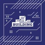 Vectorstadsembleem met huizen, gebouwen, gloeiende vensters op een blauwe achtergrond Royalty-vrije Stock Foto's