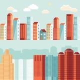 Vectorstadsillustraties in vlakke eenvoudige stijl Stock Fotografie