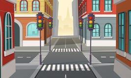 Vectorstadskruispunten met verkeerslichten, kruising vector illustratie