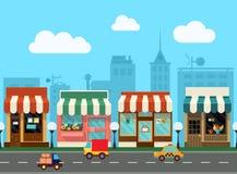 Vectorstadsstraat met winkel Stock Foto's
