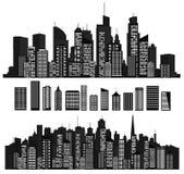 Vectorstedensilhouetten en elementen voor ontwerp Stock Foto