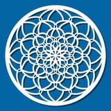 Vectorstencil kanten rond ornament Mandala met gesneden openwork Royalty-vrije Stock Afbeelding