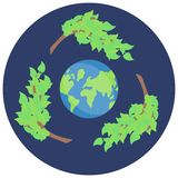 Vectorsticker die recycleren, sparen groene planeet, vectorpictogram stock illustratie
