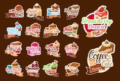 Vectorstickers van gebakjedesserts en cakes Stock Fotografie