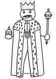 Vectorstickman-Beeldverhaal van Koning Posing met Kroon, Sceptre en r stock illustratie
