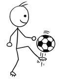 Vectorstickman-Beeldverhaal van Voetbalvoetbalster het Schoppen Stock Fotografie