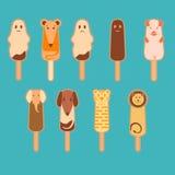 Vectorstyle stylisé d'animaux de crème glacée plat Photos stock