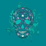 Vectorsugar skull met ornament Stock Afbeelding