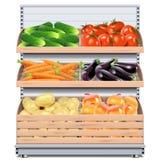 Vectorsupermarktplank met Groenten stock illustratie