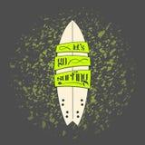 Vectorsurfplank in het donkere ontwerp van de beeldverhaalgraffiti Stock Fotografie