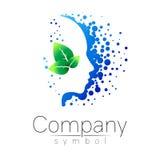 Vectorsymbool van menselijk hoofd en blad profielgezicht Blauwgroene kleur die op witte achtergrond wordt geïsoleerd Conceptentek Stock Afbeelding