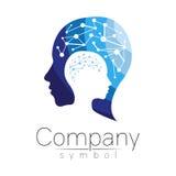 Vectorsymbool van menselijk hoofd profielgezicht Blauwe die kleur op witte achtergrond wordt geïsoleerd Conceptenteken voor zaken Stock Foto's