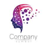 Vectorsymbool van menselijk hoofd profielgezicht Violette roze die kleur op witte achtergrond wordt geïsoleerd Conceptenteken voo Stock Foto's