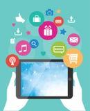 Vectortablet mobiel app ontwikkelingsconcept Stock Afbeelding