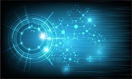 Vectortechnologie en wetenschapstechnologie op kleuren blauwe achtergrond Royalty-vrije Stock Afbeelding