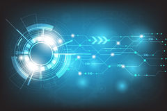 Vectortechnologiecirkel met diverse technologisch op blauwe achtergrond Stock Fotografie