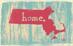Vectorteken van de staat van Massachusetts het nostalgische rustieke uitstekende Stock Foto