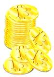 Vectortekening, gouden bitcoinmuntstukken op witte achtergrond stock illustratie