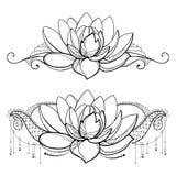 Vectortekening met de bloem van overzichtslotus, decoratief kant en wervelingen in zwarte stock illustratie