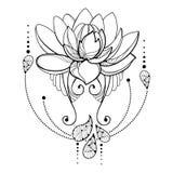 Vectortekening met de bloem van overzichtslotus, decoratief kant en wervelingen in zwarte royalty-vrije illustratie