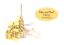 Vectortekening Peter en Paul Fortress Saint-Petersburg voor kaart, plaats, gids en andere Stock Foto's