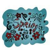 Vectortekening van de lente bloem en fantasieinstallaties Zwarte contour en gekleurde vlekken van rood en blauw Illustratie voor vector illustratie