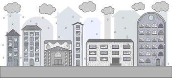 Vectortekening van de regenachtige stad Royalty-vrije Stock Fotografie