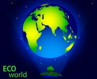 Vectortekening van ecowereld, besparingsaard en het milieu royalty-vrije illustratie