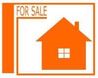 Vectortekening van een huis voor verkoopembleem stock illustratie