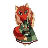 Vectortekening van een rode vos in een groene lang-necked kleding met een handtas Royalty-vrije Stock Fotografie