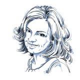 Vectortekening van glimlachende oprechte vrouw met modieus kapsel Royalty-vrije Stock Afbeeldingen