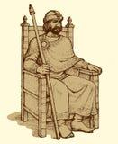 Vectortekening van oude koning Stock Foto's