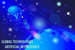Vectortekening, virtueel concept technologie van wereld de globale cyber vector illustratie