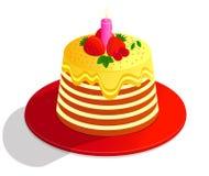 Vectortekenings kleurrijke cake van verfraaid met decor, room en vruchten, op witte achtergrond royalty-vrije illustratie