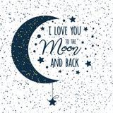 Vectortekst I houdt van u aan de maan en de rug St van de het citaat darl blauw maan van de Valentijnskaartendag inspirational de stock illustratie