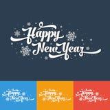 Vectortekst op kleurenachtergrond Het gelukkige Nieuwjaar van letters voorzien voor uitnodiging en groetkaart, drukken en affiche Royalty-vrije Stock Foto