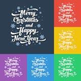 Vectortekst op kleurenachtergrond Vrolijke Kerstmis en Gelukkig Nieuwjaar Royalty-vrije Stock Fotografie