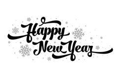 Vectortekst op witte achtergrond Het gelukkige Nieuwjaar van letters voorzien voor uitnodiging en groetkaart, drukken en affiches Stock Afbeeldingen